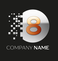 golden number eight logo symbol in silver pixel ci vector image