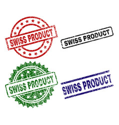 Grunge textured swiss product seal stamps vector