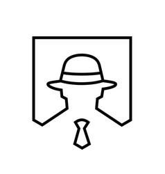 hacker logo icon lineart style vector image