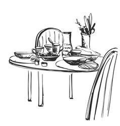 Hand drawn wares sketch romantic dinner serving vector