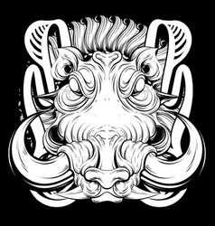 hand drawn warthog isolated vector image