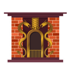home fireplace with fire vintage design vector image