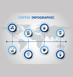 infographic design with coffee icons vector image