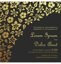 Invitation card dark with gold vector