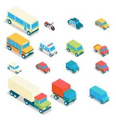 Isometric city transport and trucks icons vector image