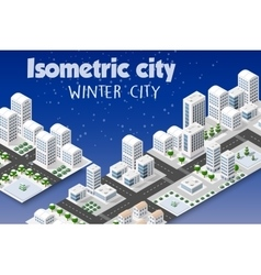 Isometric set of the modern city vector image