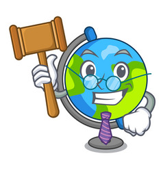 judge globe mascot cartoon style vector image