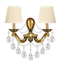 Lamp sconce bronze vintage with crystal pendants vector