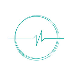 linear cardiogram in cricle logo cardiology heart vector image
