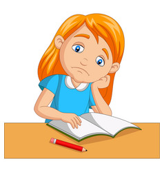little girl bored studying homework vector image