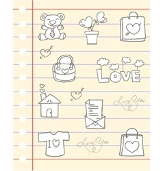 Love hand draw paper vector