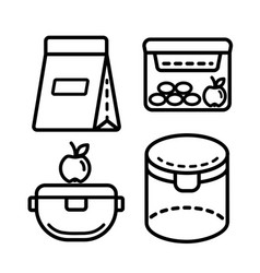 Lunchbox outline icon set 3 vector