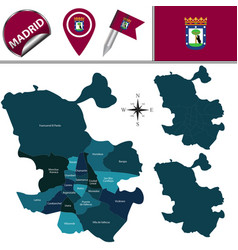 map of madrid with districts vector image