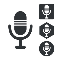 Microphone icon set monochrome vector image