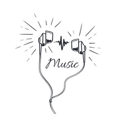 Music headphones with loud sounds playing sketch vector