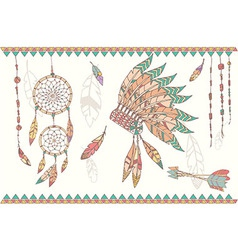 Native american dream catcher headdress vector image