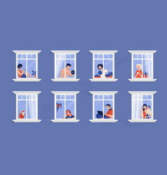 Neighbors in apartment people in windows drinking vector