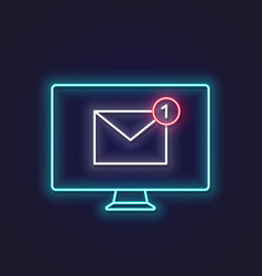 new email neon sign pc monitor with new message vector image