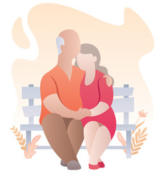 old couple abstract vector image