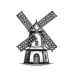 old wooden windmill sketch agriculture farming vector image