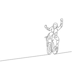 One single line drawing young moto biker vector