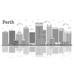 outline perth australia city skyline with modern vector image