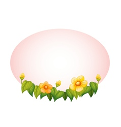 Oval with flowers border vector