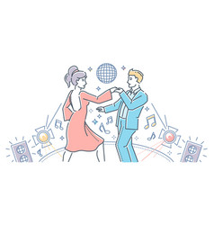 partner dance - modern line design style vector image