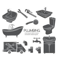 plumbing monochrome icons vector image