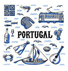 Portugal landmarks set handdrawn sketch style vector