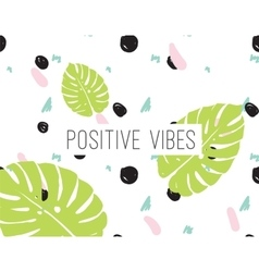 Positive vibes inscription on abstract background vector image