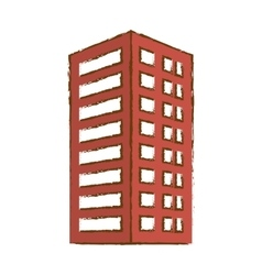 Red building line sticker image vector