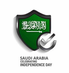 saudi arabia celebtraing independence day shield vector image