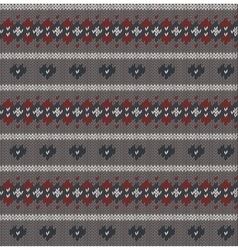 Seamless knitted pattern on grey background vector