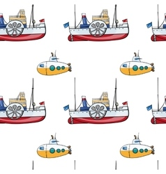 Seamless pattern hand drawn water transport kids vector