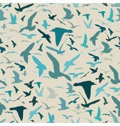 Seamless pattern with seagull silhouettes vector image
