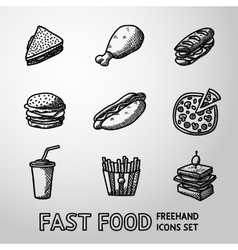 Set freehand fast food icons - sandwich vector