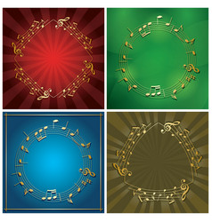 set of backgrounds with gold music frames vector image