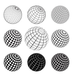 set of black and white vektor globe vector image