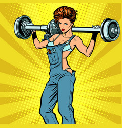 sexy female car mechanic and rear axle vehicle vector image
