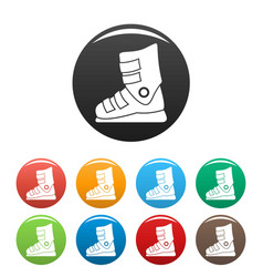ski boots icons set color vector image