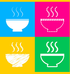soup sign four styles of icon on four color vector image