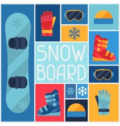 Sports background with snowboard equipment flat vector