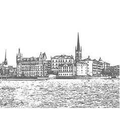 stockholm vintage hand drawn sketch vector image