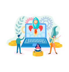 successful startup online project teamwork vector image