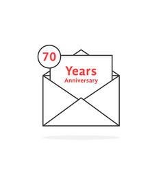 Thin line 70 years anniversary logo like open vector