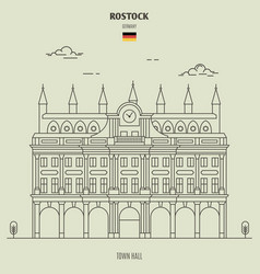 Town hall in rostock vector