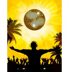 tropical dj and party vector image vector image