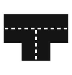 Tshaped crossroad icon simple style vector