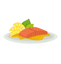tuna slice seafood served on plate with leaf and vector image